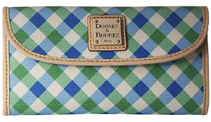 Dooney & Bourke Dooney Bourke Elsie Blue Green Check Continental Clutch Trifold Wallet