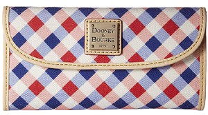 Dooney & Bourke Dooney Bourke Elsie Cherry Purple Check Continental Clutch Trifold Wallet