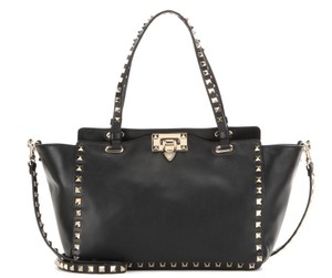 Valentino Studded Rockstud Leather Trapeze Classic Tote in Black