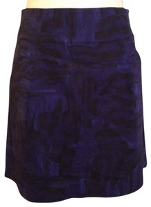 Theory A-line Cotton Mini Skirt Indigo Purple/black