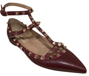 Valentino Rockstud Studded Ankle Strap Stud Pointed Toe burgundy Flats
