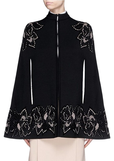 Item - Alexander Mqueen Aw15 Black Rose Cutout Jacquard Floral Wool Knit Cape Jacket