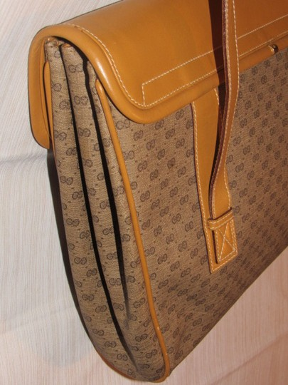 Gucci High-end Bohemian Xl Satchel/Tote Mint Vintage Rare Early Multiple Compartment Satchel in brown small G logo print coated canvas and camel leather Image 10