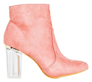 Jacobies Faux Suede Clear Heel Pink Boots