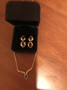 Other Yellow Gold Blue Sapphire Earnings and Necklace