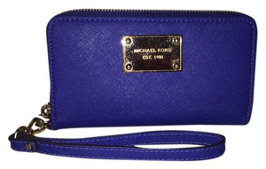 Michael Kors Saffiano Leather Gold Wristlet in blue