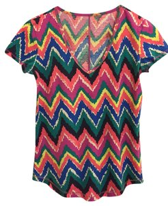 Lilly Pulitzer Chevron V-neck Cotton Spring T Shirt Multi-Color