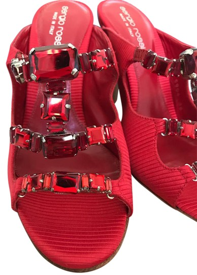Sergio Rossi Jeweled Special Red Sandals Image 0