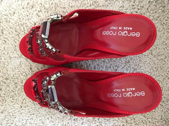 Sergio Rossi Jeweled Special Red Sandals Image 1