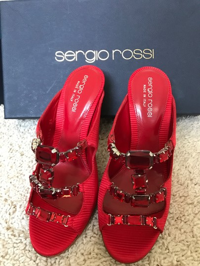 Sergio Rossi Jeweled Special Red Sandals Image 5