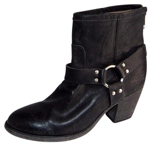 Frye Tabitha Harness Ankle Zipper Antiqued Leather Black Boots