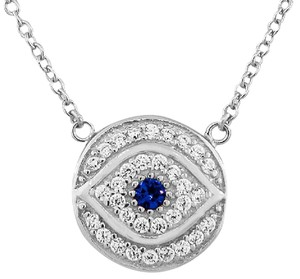 9.2.5 Rare white and blue sapphire evil eye necklace. sterling silver. 18 in
