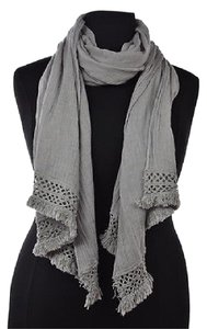 J.Crew J Crew Womens Gray Scarf One Linen Textured Fringe Casual