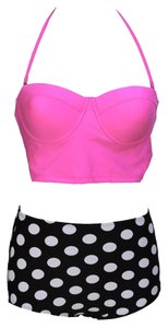 Other New's Retro Pink Top Black White Polka Dot Bikini Size: L Item No. : Lc40646