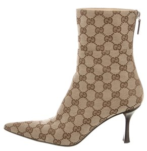 Gucci Gg Monogram Ankle Beige, Brown Boots