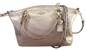 Coach Metallic Party Night Out Gold Leather Satchel in Platinum/Gold