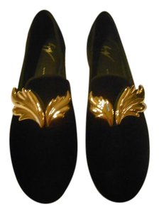 Giuseppe Zanotti Sophisticated Design Metallic Wing Design Made In Italy Nero Flats