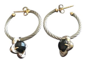 Charriol Hoop Earrings with Black Onyx Dangle Charm