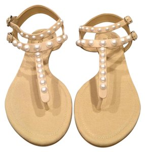 Chanel Cc Pearl Thong Strappy Beige Sandals