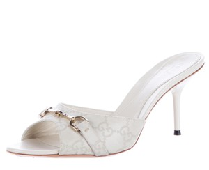 Gucci Gold Hardware Embellished Gg Horsebit Ivory, White Pumps