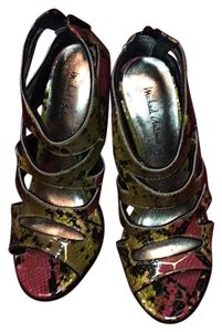 Michael Antonio snake print including yellow, red, black, and gold tones Platforms