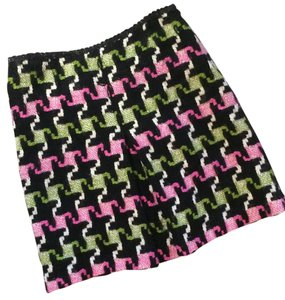 MILLY Skirt black, pink & green