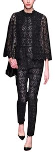 Valentino Lace Macreme Straight Pants Black