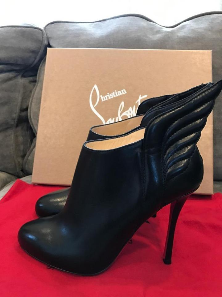 7aaeecdc8f56 Christian Louboutin Black Mercura Wing Leather Ankle Heels Boots Booties  Size EU 38 (Approx. US 8) Regular (M