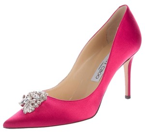 Jimmy Choo Crystal Embellished Satin Pointed Toe Mamey 85 Pink, Silver Pumps