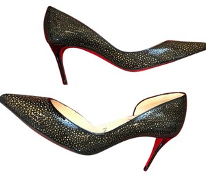 Christian Louboutin Heels Kitten Heel Laser Cut Black/Gold Pumps