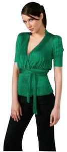 Diane von Furstenberg Dvf Wrap Accordion Top Green