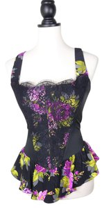 Betsey Johnson Satin Lace Bustier Top black