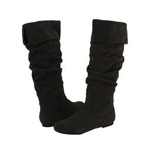 Steve Madden Suede Ruffle Flat Comfortable Black Boots