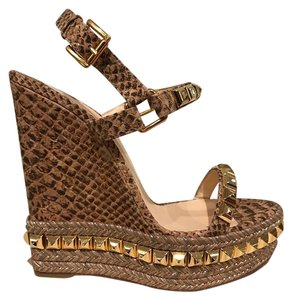 Christian Louboutin Cataclou Stiletto Platform Studded gold Wedges