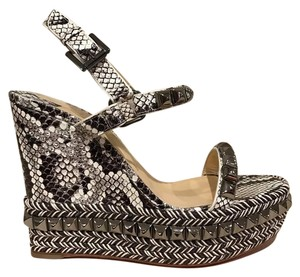 Christian Louboutin Cataclou Studded Stiletto Snakeskin Platform grey Wedges