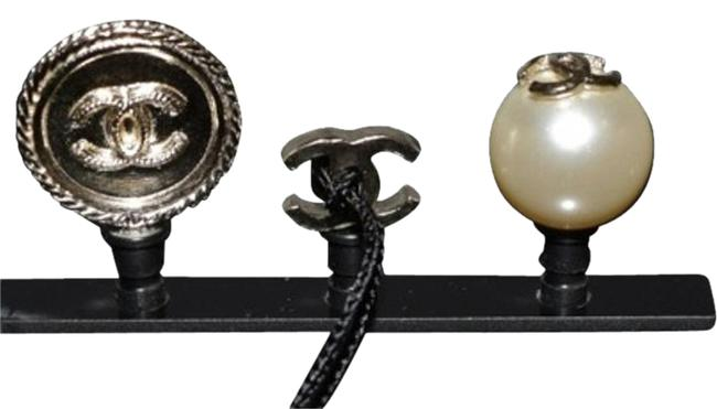 Item - Black White Gold Cell Phone Iphone Dust Plugs Ear Jacks Cc Logo Pearls Charm Icon Tech Accessory