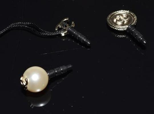 Chanel Cell Phone iPhone Dust Plugs Ear Jacks CC Logo Pearls Gold Charm Icon Image 1