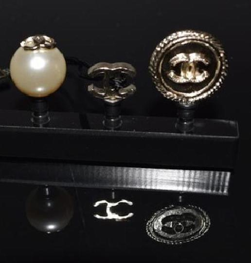 Chanel Cell Phone iPhone Dust Plugs Ear Jacks CC Logo Pearls Gold Charm Icon Image 5