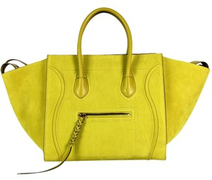 Cline Celine Luggage Phantom Medium Tote in mustard yellow