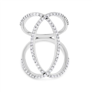 0.79 Ct. Natural Diamond Double Oval Loop Large Cocktail Ring in Solid