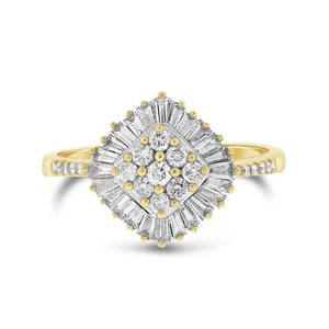 1.00 Ct. Natural Round & Baguette Diamond Fashion Ring in Solid 14k