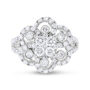 Other 1.54 Ct. Natural Diamond Floral Flower Cocktail Ring in Solid 14k