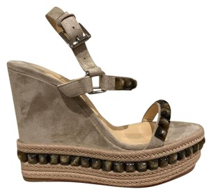 Christian Louboutin Cataclou Stiletto Studded Platform beige Wedges