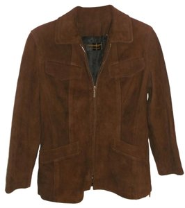 Donna Karan New York Leather Suede Brown Leather Jacket