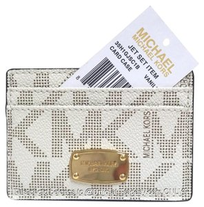 Michael Kors NWT MK Signature Monogram Card Case Credit Card Holder Wallet Jet Set