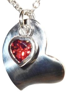 """Red Envelope STERLING SILVER MODERN HEART WITH GARNET HEART CHARM NECKLACE-16""""-18"""""""
