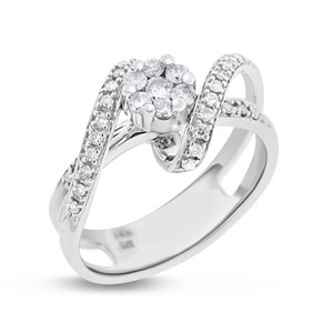 0.50 Ct. Natural Diamond Floral Flower Twisted Ring in Solid 14k White