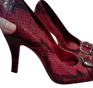 Bronx Red and black snake skin print w/silver buckles Formal