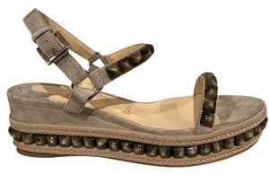 Christian Louboutin Catacloue Studded Platform Ankle Strap beige Wedges