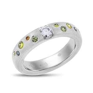 Other 0.48 Ct. Natural Superfine White & Color Diamonds Platunim Band Ring